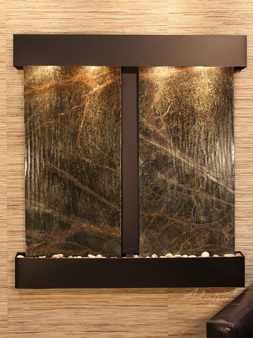 Wall Fountain - Aspen Falls - Rainforest Green Marble - Blackened Copper - Squared - afs1505