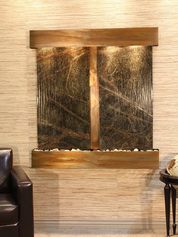 Wall Fountain - Aspen Falls - Rainforest Green Marble - Rustic Copper - Squared - afs1005