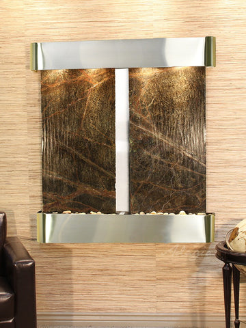 Wall Fountain - Aspen Falls - Rainforest Green Marble - Stainless Steel - Rounded - afr2005