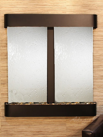 Wall Fountain - Aspen Falls - Silver Mirror - Blackened Copper - Rounded - afr1540