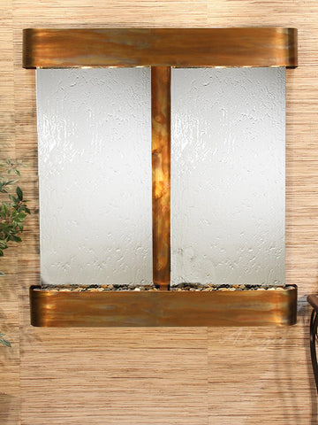Wall Fountain - Aspen Falls - Silver Mirror - Rustic Copper - Rounded - afr1040