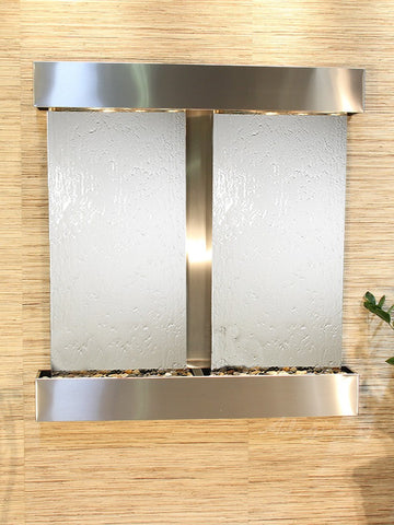 Wall Fountain - Aspen Falls - Silver Mirror - Stainless Steel - Squared - afs2040