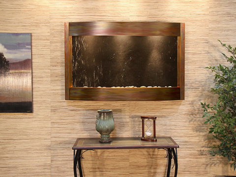 Wall Fountain - Calming Waters - Black FeatherStone - Rustic Copper - cwa1011
