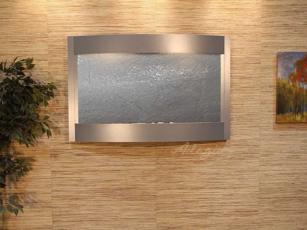 Wall Fountain - Calming Waters - Black FeatherStone - Silver Metallic - cwa4511
