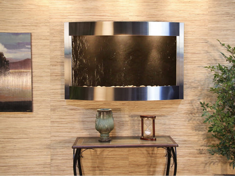 Wall Fountain - Calming Waters - Black FeatherStone - Stainless Steel - cwa2011