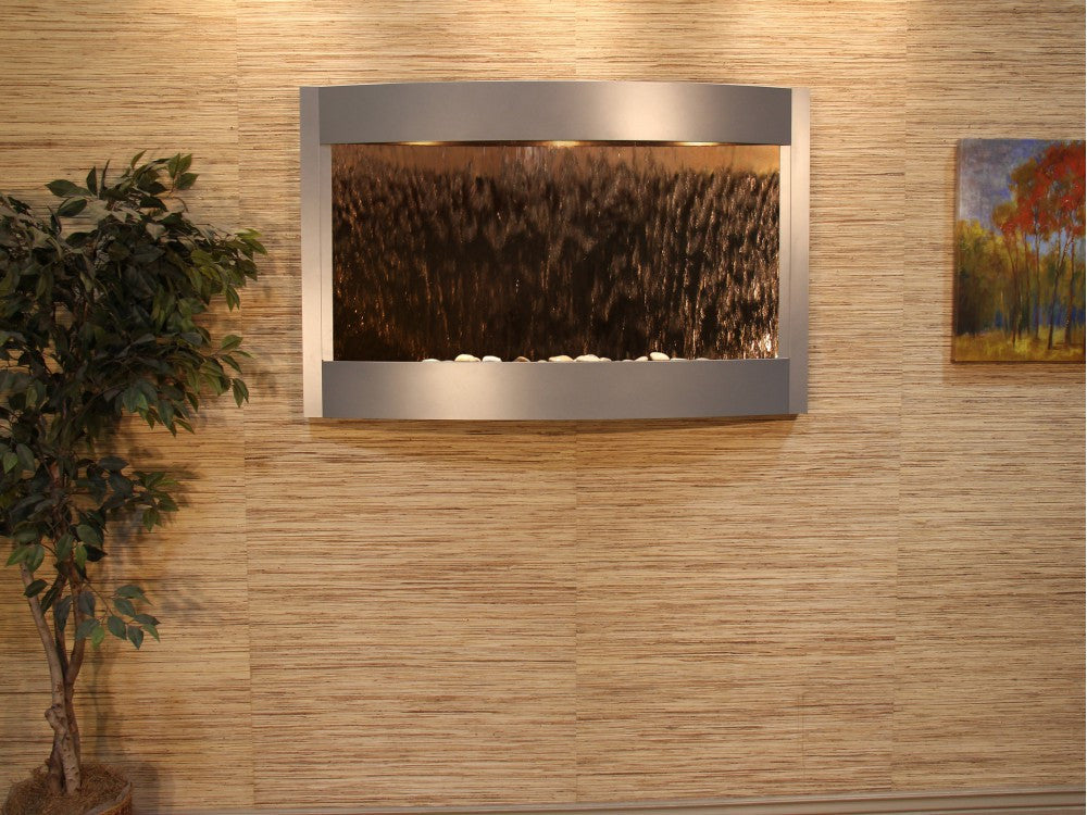 Wall Fountain - Calming Waters - Bronze Mirror - Silver Metallic - cwa4541