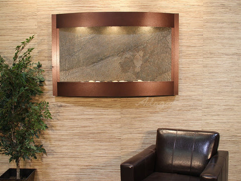 Wall Fountain - Calming Waters - Green FeatherStone - Copper Vein - cwa5012