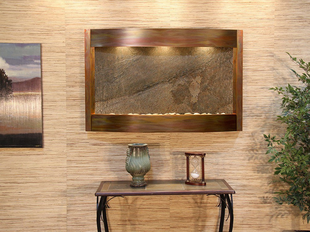 Wall Fountain - Calming Waters - Green FeatherStone - Rustic Copper - cwa1012