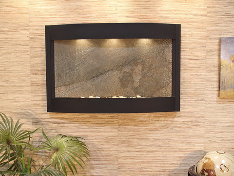 Wall Fountain - Calming Waters - Green FeatherStone - Textured Black - cwa1712