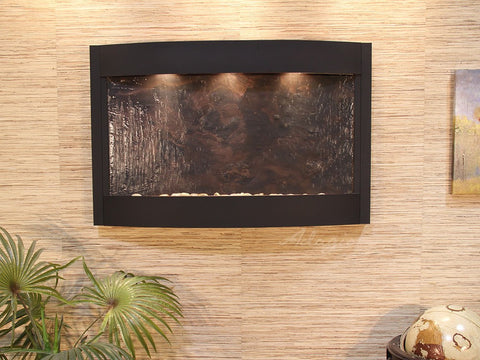Wall Fountain - Calming Waters - Multi-Color FeatherStone - Textured Black - cwa1714