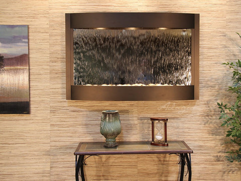 Wall Fountain - Calming Waters - Silver Mirror - Antique Bronze - cwa3540