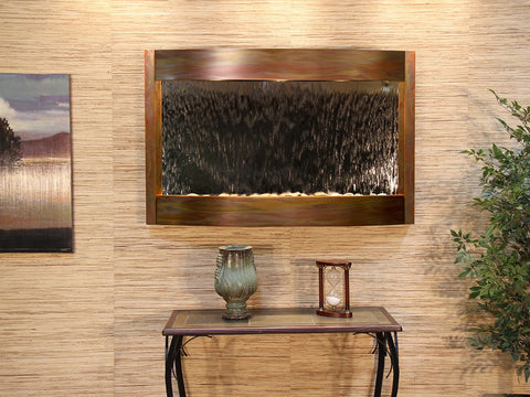 Wall Fountain - Calming Waters - Silver Mirror - Rustic Copper - cwa1040