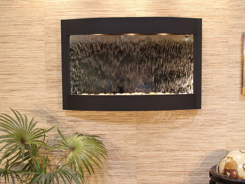 Wall Fountain - Calming Waters - Silver Mirror - Textured Black - cwa1740
