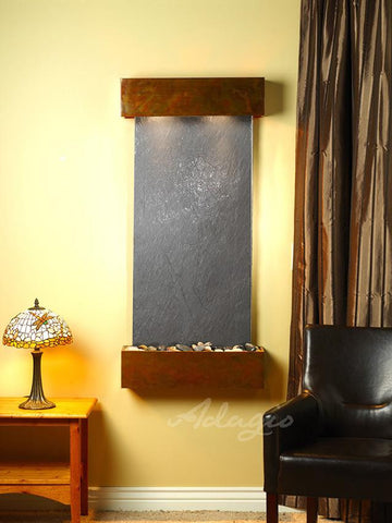 Wall Fountain - Cascade Springs - Black FeatherStone - Rustic Copper - Squared - CSS1011