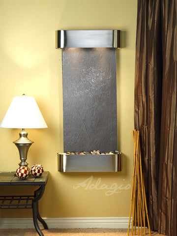 Wall Fountain - Cascade Springs - Black FeatherStone - Stainless Steel - Rounded - csr2011