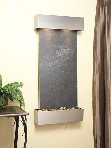 Wall Fountain - Cascade Springs - Black FeatherStone - Stainless Steel - Squared - CSS2011