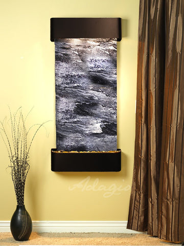 Wall Fountain - Cascade Springs - Black Spider Marble - Blackened Copper - Rounded - csr1507