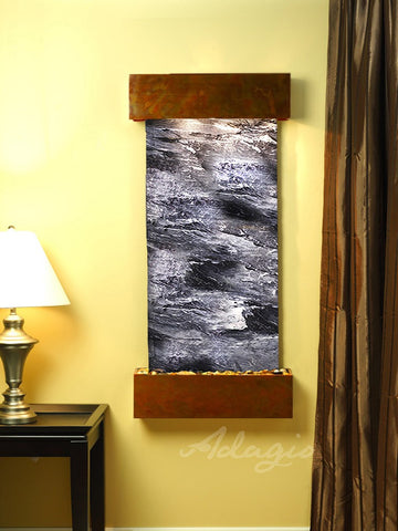 Wall Fountain - Cascade Springs - Black Spider Marble - Rustic Copper - Squared - css1007