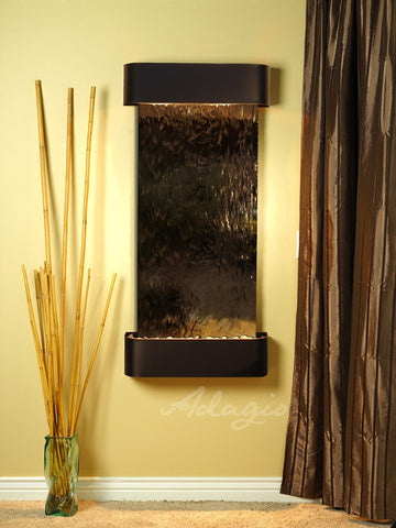 Wall Fountain - Cascade Springs - Bronze Mirror - Blackened Copper - Rounded - csr1541