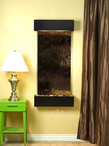 Wall Fountain - Cascade Springs - Bronze Mirror - Blackened Copper - Squared - css1541