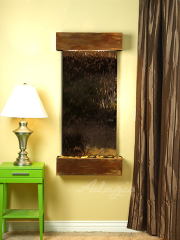 Wall Fountain - Cascade Springs - Bronze Mirror - Rustic Copper - Squared - css1041