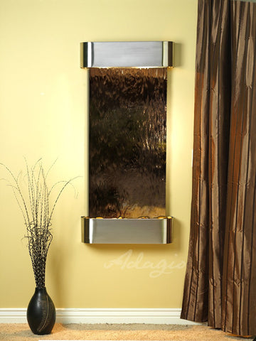 Wall Fountain - Cascade Springs - Bronze Mirror - Stainless Steel - Rounded - csr2041