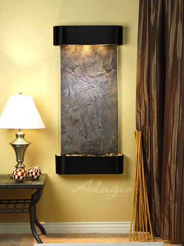Wall Fountain - Cascade Springs - Green FeatherStone - Blackened Copper - Rounded - csr1512
