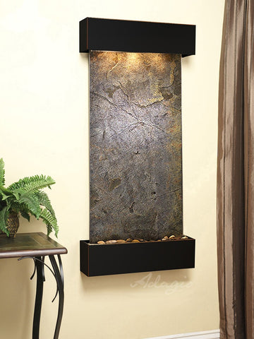 Wall Fountain - Cascade Springs - Green FeatherStone - Blackened Copper - Squared - CSS1512
