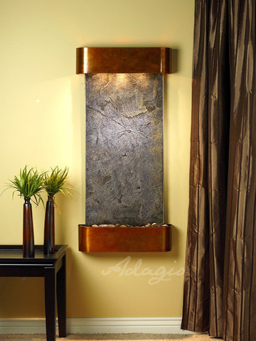 Wall Fountain - Cascade Springs - Green FeatherStone - Rustic Copper - Rounded - csr1012