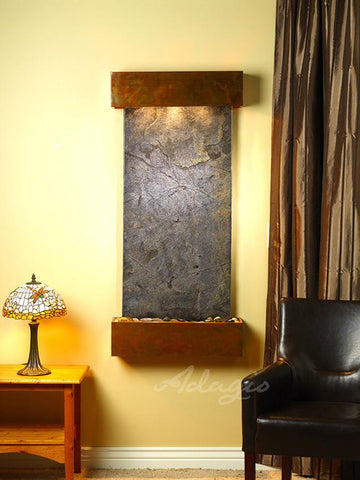 Wall Fountain - Cascade Springs - Green FeatherStone - Rustic Copper - Squared - CSS1012