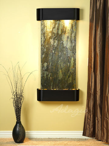 Wall Fountain - Cascade Springs - Green Slate - Blackened Copper - Rounded - csr1502
