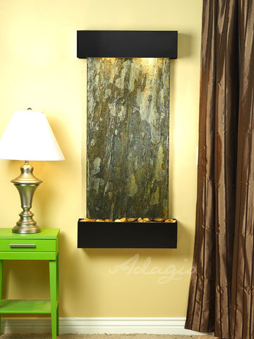 Wall Fountain - Cascade Springs - Green Slate - Blackened Copper - Squared - CSS1502