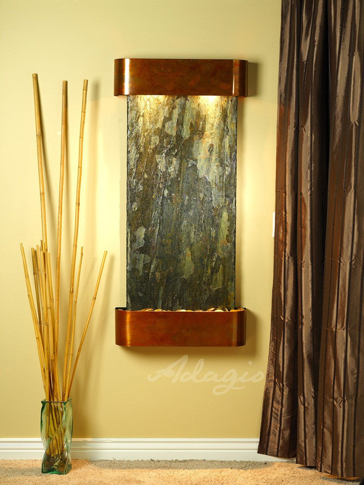 Wall Fountain - Cascade Springs - Green Slate - Rustic Copper - Rounded - csr1002