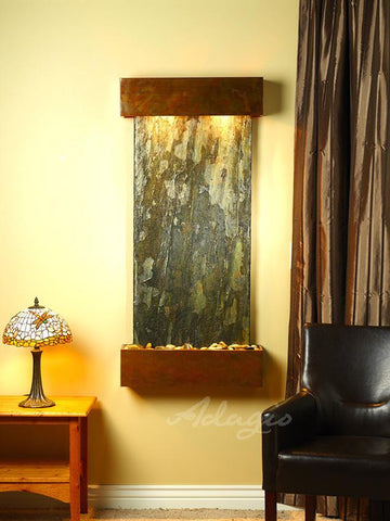 Wall Fountain - Cascade Springs - Green Slate - Rustic Copper - Squared - CSS1002