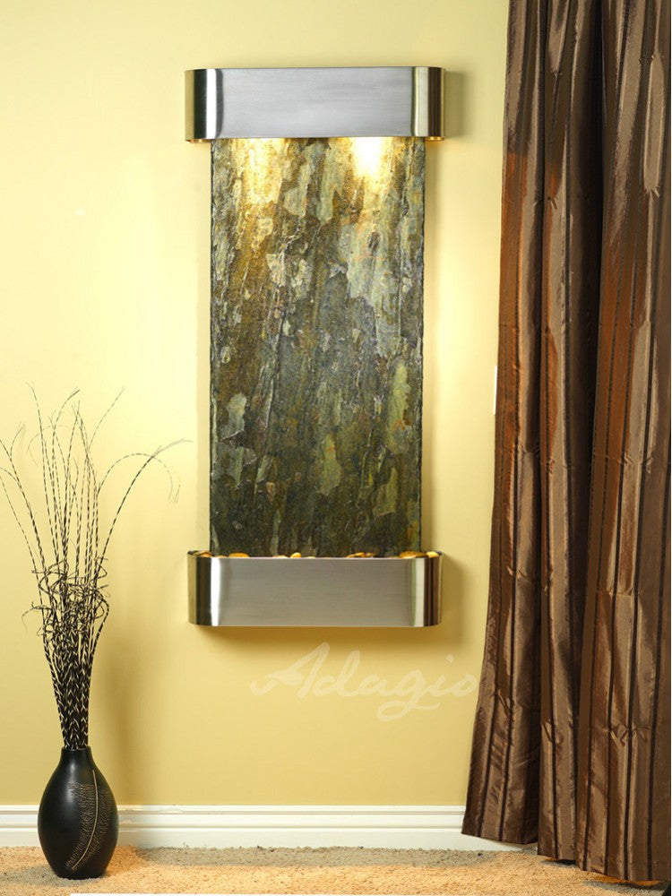 Wall Fountain - Cascade Springs - Green Slate - Stainless Steel - Rounded - csr2002