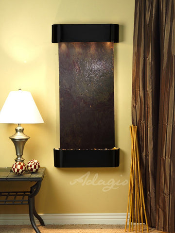 Wall Fountain - Cascade Springs - Multi-Color FeatherStone - Blackened Copper - Rounded - csr1514