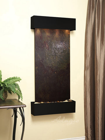 Wall Fountain - Cascade Springs - Multi-Color FeatherStone - Blackened Copper - Squared - CSS1514