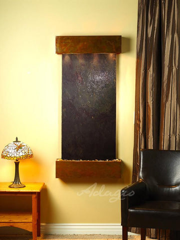 Wall Fountain - Cascade Springs - Multi-Color FeatherStone - Rustic Copper - Squared - CSS1014