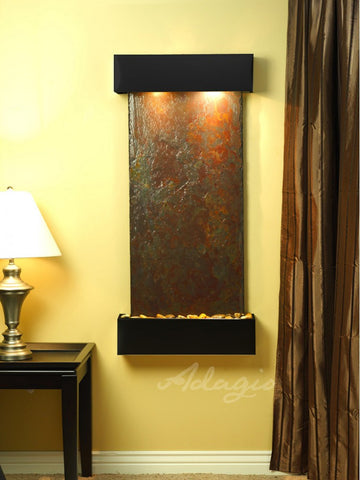 Wall Fountain - Cascade Springs - Multi-Color Slate - Blackened Copper - Squared - css1504