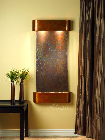 Wall Fountain - Cascade Springs - Multi-Color Slate - Rustic Copper - Rounded - csr1004