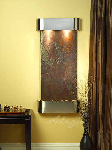 Wall Fountain - Cascade Springs - Multi-Color Slate - Stainless Steel - Rounded - csr2004