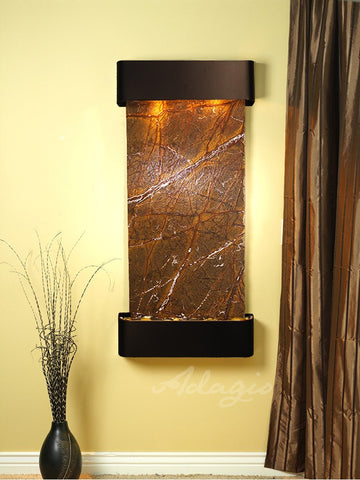 Wall Fountain - Cascade Springs - Rainforest Brown Marble - Blackened Copper - Rounded - csr1506-1