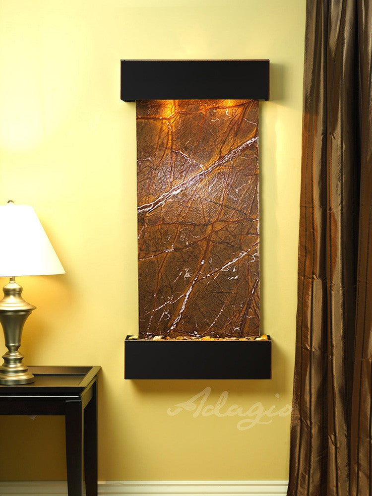 Wall Fountain - Cascade Springs - Rainforest Brown Marble - Blackened Copper - Squared - css1506