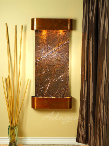 Wall Fountain - Cascade Springs - Rainforest Brown Marble - Rustic Copper - Rounded - csr1006