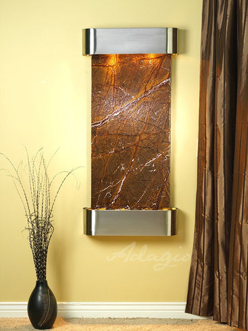 Wall Fountain - Cascade Springs - Rainforest Brown Marble - Stainless Steel - Rounded - csr2006