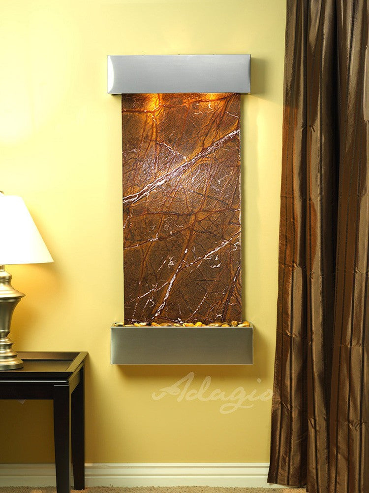 Wall Fountain - Cascade Springs - Rainforest Brown Marble - Stainless Steel - Squared - css2006