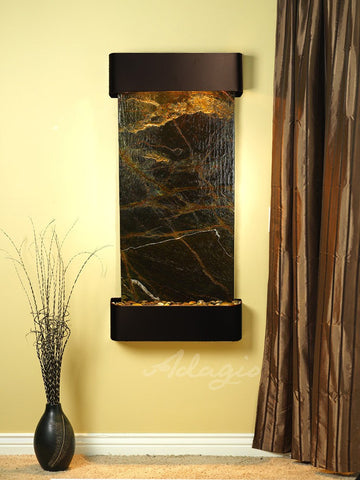 Wall Fountain - Cascade Springs - Rainforest Green Marble - Blackened Copper - Rounded - csr1505