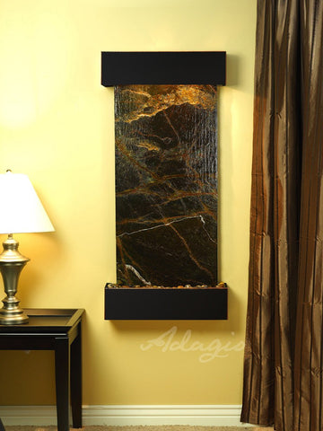 Wall Fountain - Cascade Springs - Rainforest Green Marble - Blackened Copper - Squared - css1505