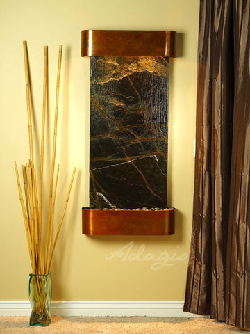 Wall Fountain - Cascade Springs - Rainforest Green Marble - Rustic Copper - Rounded - csr1005