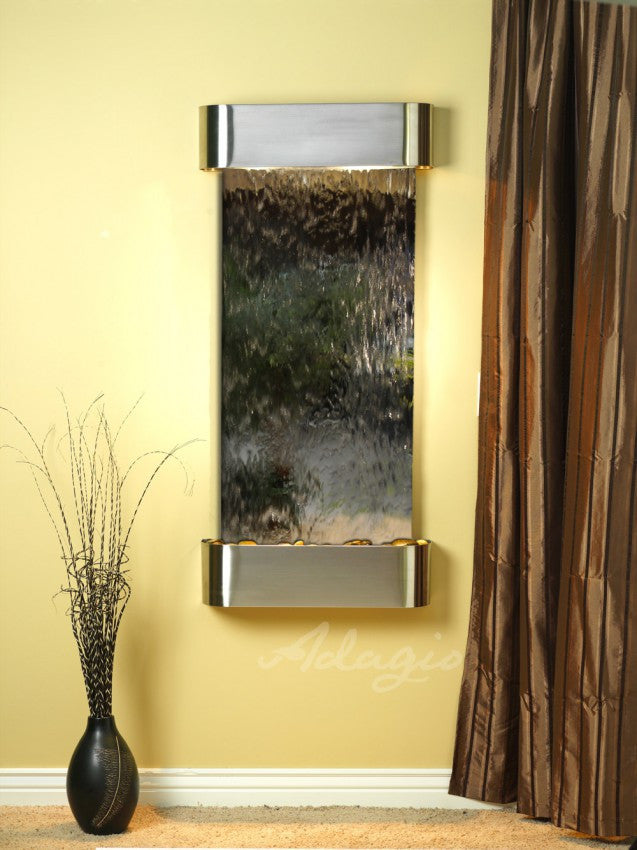 Wall Fountain - Cascade Springs - Silver Mirror - Stainless Steel - Rounded - csr2040